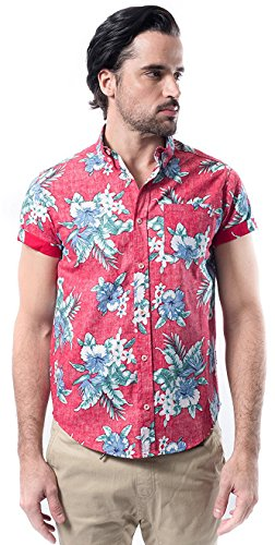 Brooklyn Athletics Mens Hawaiian Aloha Shirt Vintage Casual Button Down Tee, Red Floral, Medium