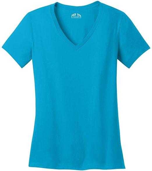 4e4118a9c8f5 Amazon.com: Joe's USA - Ladies Soft V-Neck T-Shirts in Sizes XS-4XL ...