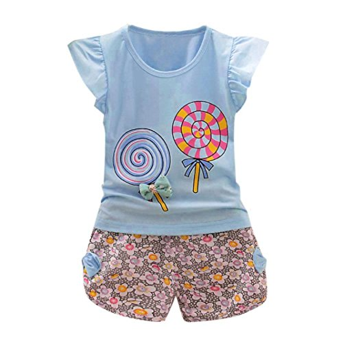 Toddler Kids Baby Girls Floral Print Bow Lolly T-shirt Tops+Short Pants Clothes 2Pcs Outfits Set 1-4T (Light Blue, 2/3 T)