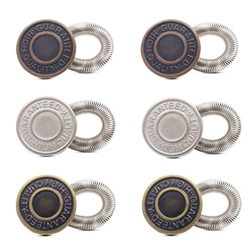 6Pcs No Sew Elastic Spring Metal Jeans Button Pants Extenders 20mm Antique Brass Waistband Extender