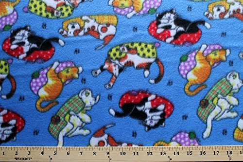 Lounging Cats Dogs Pets On Blue Fleece Fabric Print By The