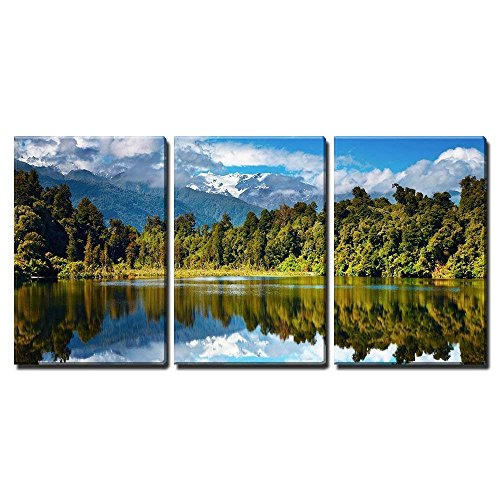 wall26 - 3 Piece Canvas Wall Art - Beautiful Lake, Southern Alps, New Zealand - Modern Home Decor Stretched and Framed Ready to Hang - 16