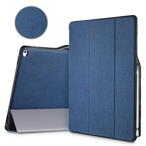 iPad Pro 12.9 Case, iVAPO [Brief Business Style] Premium PU Slim Fit Flip Folio Case with Apple Pencil Holder, [Stand Feature], Auto Sleep/Wake Smart Fabric Cover for iPad pro 12.9 inch-Blue (MM627)