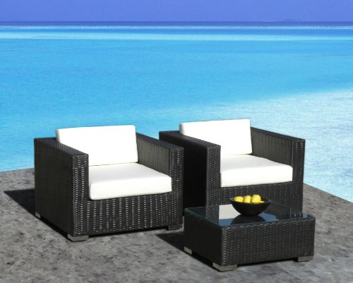 Outdoor Patio Furniture All-Weather Wicker 3 Pc Arm Chair Set (Patio Furniture In Orlando Fl)