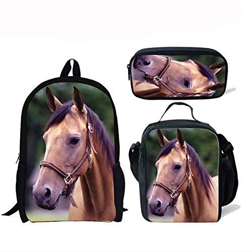 ThiKin Cute Horse School Backpacks for Kids Boy Girls Lightweight Backpack Bookbags Set