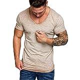 Gibobby Men's Short-Sleeve Casual Oversize V-Neck Lightweight Slub Vintage Slim Fit T-Shirt Tops Blouse Tees Beige