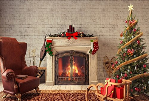 (DaShan 5x3ft Photography Backdrop Christmas Tree Fireplace Stocking Gifts Sleigh Sofa Brick Wall Carpet Interior Xmas Photo Background Backdrops Photography Video Party Kids Photo Studio Props)
