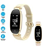 henxiyi Fitness Tracker Heart Rate Monitor Activity Sleep Monitor Waterproof Smart Bracelet Sports Bluetooth Watch Wristband for iOS Android Phone (Gold)