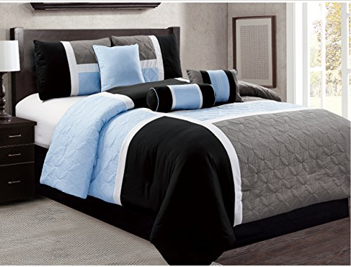 7 Piece Luxury Bed in Bag Comforter Set - Closeout (Cal King, Black/Blue)