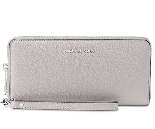 Michael Kors Wallet Wristlet Zip Around Embossed Leather Grey MK Logo by MICHAEL Michael Kors