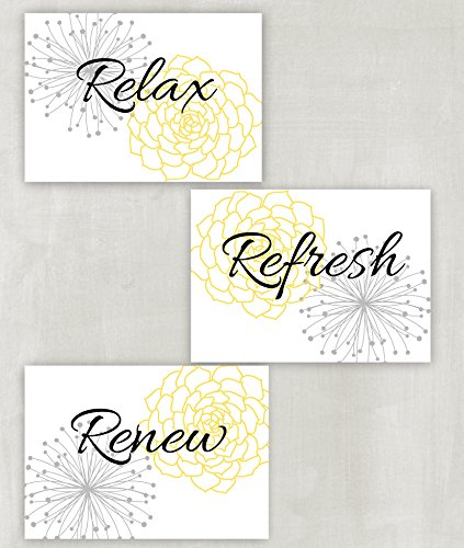 Relax Refresh Renew Floral Wall Art in Yellow, Grey and Whit
