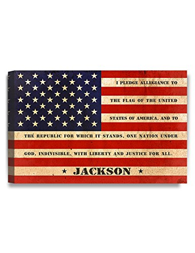 IPIC - American Flag, Personalized Canvas print with Family Name and Oath, Perfect Army Family Gift for Independent Day, Thanksgiving and Christmas. 24#P (30x20