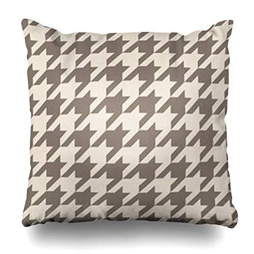 Houndstooth Gift - Decor.Gifts Throw Pillow Covers Dogtooth Houndstooth Pastel Brown Pattern Scottish Abstract Tartan Plaid for Beige Cushion Case Square Size 20 x 20 Inches Home Decor Pillowcase