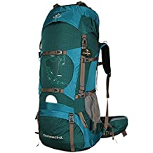 Facenature Outdoor Sports Camping Hiking Waterproof Internal Frame Backpack Backpacking Gear 70L Large Travel Daypacks with Rain Cover (Can extension to 75L)