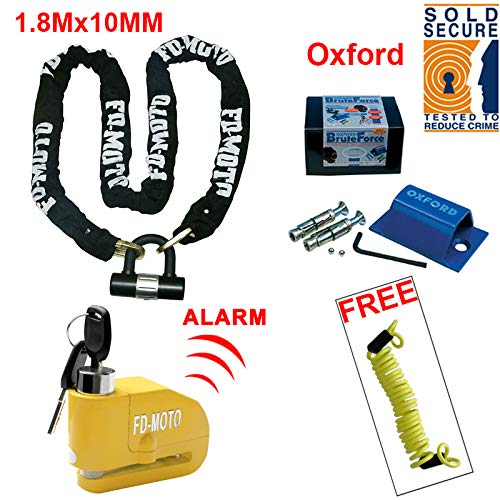 FD-MOTO 1.8M*10MM Motorbike Motorcycle Chain Lock + Alarmed Brake Disc Lock + Oxford Sold Secure Anchor + Reminder Cable 1.5m Touch Global Ltd