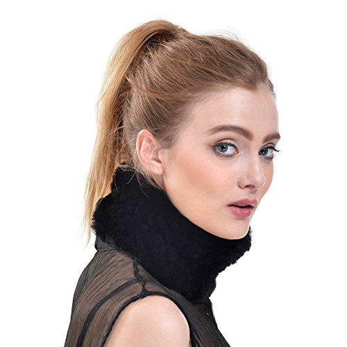 Queenfur Real Knit Rex Rabbit Fur Headbands Winter Fur Scarf Muffler (Black)