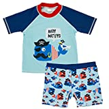 Jojobaby Baby Kids Boys Toddler Two Pieces Short Sleeve Cartoon Animal Quick Dry Sun Protection Swimsuit Swimwear (3-4 Years, Dolphin)