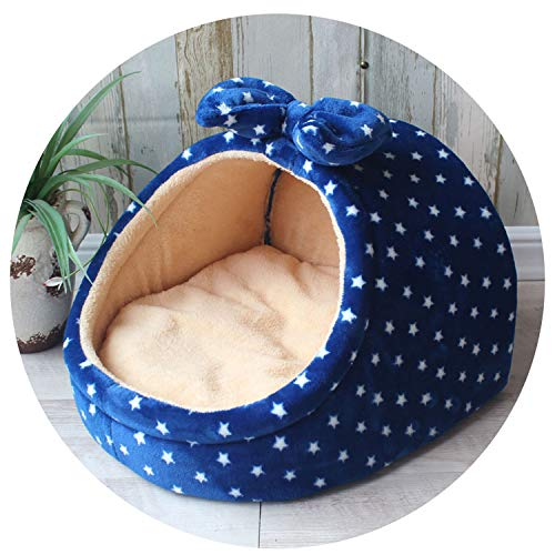 The fairy Pet Bed Dog House Kennel Doggy Warm Cushion Basket for Small Medium Dogs Fashion Strawberry Cave Cat Tent Puppy Nest Mat,Small Stars,36X35X25 cm