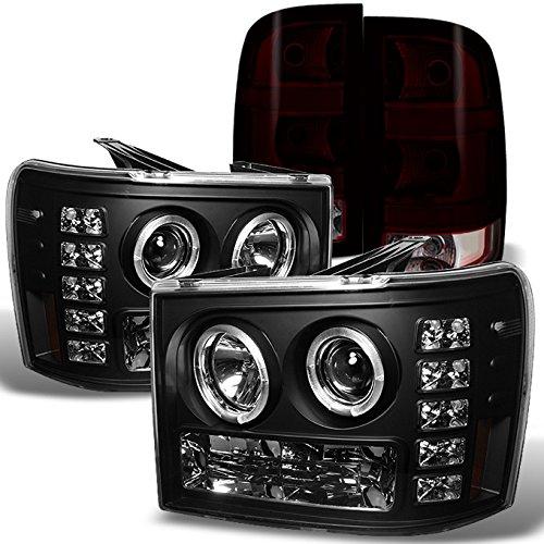 For 2007-2013 GMC Sierra 1500 2500 3500 HD Denali Black Halo LED Headlights+ Dark Red Tail Light Lamp