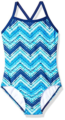 Kanu Surf Big Girls' Layla Beach Sport Banded One Piece Swimsuit, Kirsten Blue Chevron, 10 (Swimsuit Size 10 One Piece)