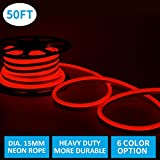 Led Neon Lights, Shine Decor Red Rope Lights, Update Waterproof 2835 120Leds/M, 50ft, 110V, Included All Necessary Accessories, Flex Durable Super Bright For Outdoor Decor Or Commercial Use