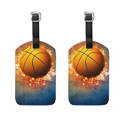 - Travel Luggage Tags Basketball PU Leather Baggage Suitcase Tag Identify 2 Pieces