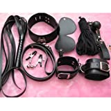 7-in-1 Sex Leather Toys Set Whip Mouth Plug Eyepatch Nipple Clips Handcuffs Collar Cotton String for Women - Black