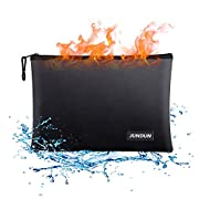 """#LightningDeal JUNDUN Fireproof Document Bags,13.4""""x 9.4""""Waterproof and Fireproof Money Bag,Fire Resistant Safe Storage Pouch with Zipper for A4 Document Holder,File,Cash and Tablet"""