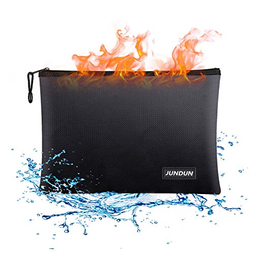 "JUNDUN Fireproof Document Bags,13.4""x 9.4""Waterproof and Fireproof Money Bag,Fireproof Safe Storage Pouch with Zipper…"