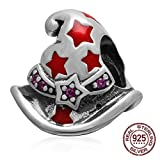 Magic or Witch Hat Charm - Authentic Sterling Silver&Red Enamel Bead for Compatible European Bracelet Jewelry