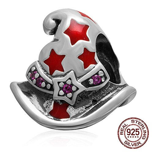 Enamel Silver Beads (Magic or Witch Hat Charm - Authentic Sterling Silver&Red Enamel Bead for Compatible European Bracelet Jewelry)