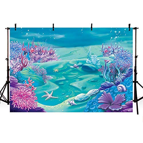 COMOPHOTO Under The Sea Mermaid Backdrop Deep Blue Sea Castle Shell Photography Background Child Kids Mermaid Themed Birthday Party Decoration Backdrops