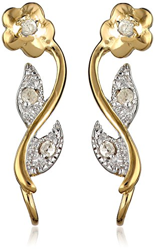 The Ear Pin Diamond Accent Flower Motif Gold Over Sterling Silver Earrings ()