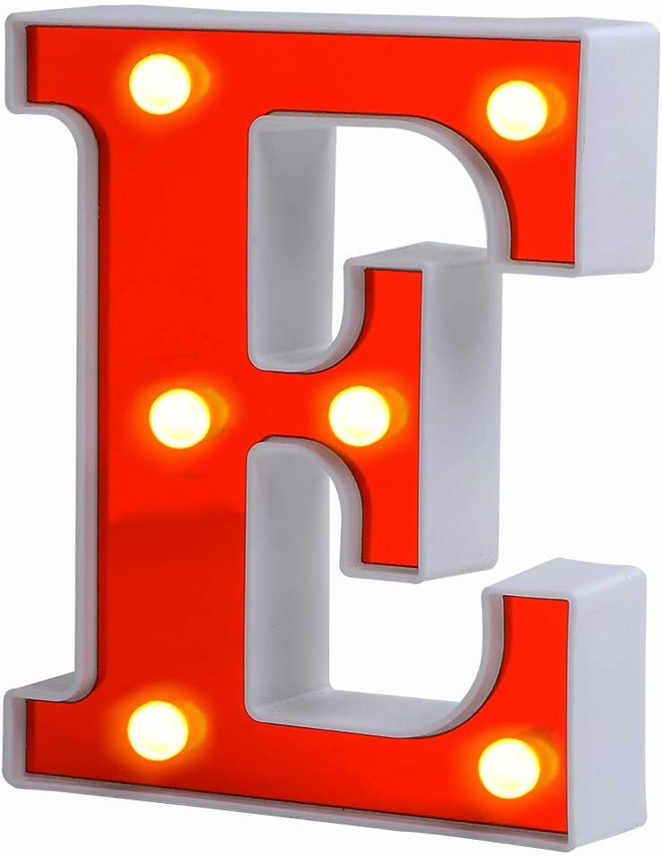 ROUDK LED Marquee Letter Lights 26 Alphabet Light Up Letters with Battery Power Red Sign LED Wall for Home Bar Festival Christmas Lamp Night Light Birthday Party Wedding Decorative