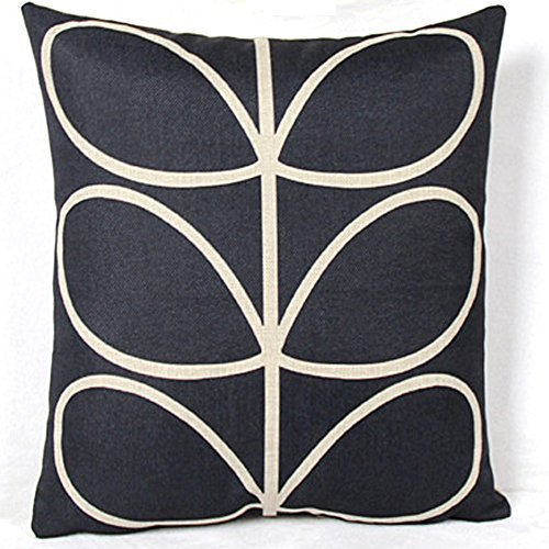 Vanki leaf series Cotton Linen Square Decorative Throw Pillow Case Cushion Cover 18 x 18 inches , black based white stem pattern