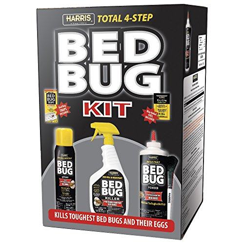 Harris Bed Bug Killer Value Bundle Kit - 32oz Bed Bug Killer, 16oz Aerosol Spray, 4oz Silica Powder w/ Brush, 4-Pack Bed Bug Detection Glue Traps and Bed Bug Bite Relief Gel by HARRIS FAMOUS ROACH TABLETS (Image #1)