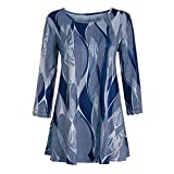 Wintialy Fashion Womens Casual Floral Print Shirts 3/4 Sleeves O-Neck Tunic Blouse Tops (X-Large, Z01)