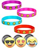 Brighty Colored Emoji Smile Bracelets (36) and Emoji Button Pins - 3 Different Emoji Faces - Super Fun Set for Birthday Parties, Great for Prizes, Rewards, Classroom, Special Events - Pins made in USA