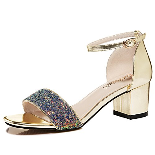 With Golden Style High Girls Summer Heels New Summer Female Thick Sandals Jqdyl High heels With 6pUS0S