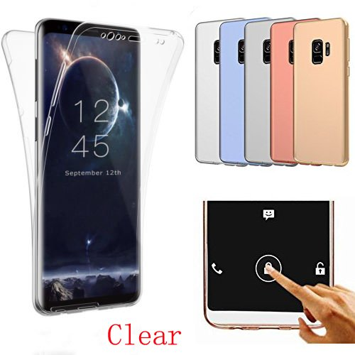 Samsung Galaxy S9 Case,AMASELL 360 Coverage Full Body Protective Shell Shockproof Front and Back Crystal Transparent Soft Silicone Rubber Cover Case Cover for Samsung Galaxy S9,Transparent