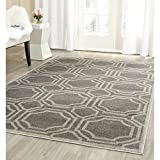Safavieh Amherst Collection AMT411C Grey and Light Grey Indoor/Outdoor Square Area Rug, 5 Feet Square