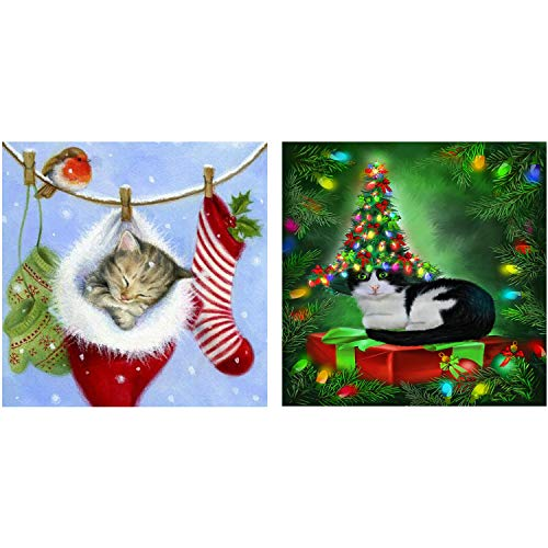 - 2 Packs 5D DIY Christmas Cat Diamond Painting Set Full Drill Diamond Painting Kits by Numbers DIY Tools,Christmas Cat(35x35CM/14x14inch)