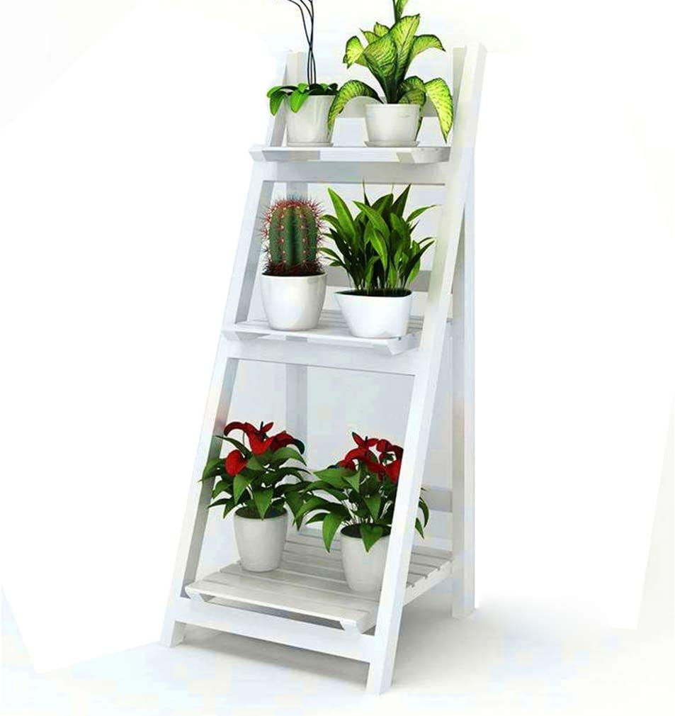 3 niveles expositor de rack de madera maciza plegables bastidores de escalera estante de flor blanca pura jardín del hogar soporte de flor