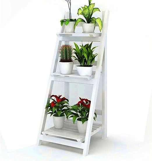 3 niveles expositor de rack de madera maciza plegables bastidores de escalera estante de flor blanca pura jardín del hogar soporte de flor: Amazon.es: Jardín