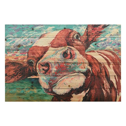 Red Cow Print - Empire Art Direct Curious Cow 1 1, 24 in. x 36 in. x 1.5 in, Brown