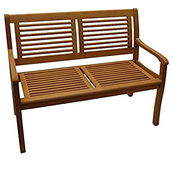 Amazonde Gartenbank Paolo 2 Sitzer Eukalyptus Hartholz Teakfarbig