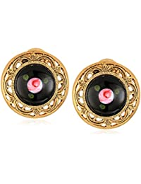 Women's Gold Tone Black Pink Flower Decal Stone Clip Earrings, Multi, One Size