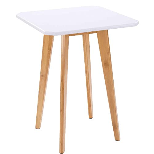 WILSHINE White Side End Table with Natural Bamboo Legs for Living Room Bedroom, 18 Inch