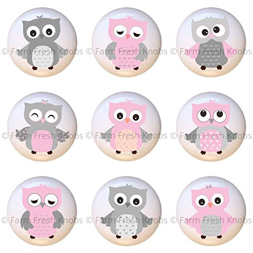 Pink Knob Gloss (SET OF 9 KNOBS - Pink and Gray Owl - Owls by AA - DECORATIVE Glossy CERAMIC Cupboard Cabinet PULLS Dresser Drawer KNOBS)