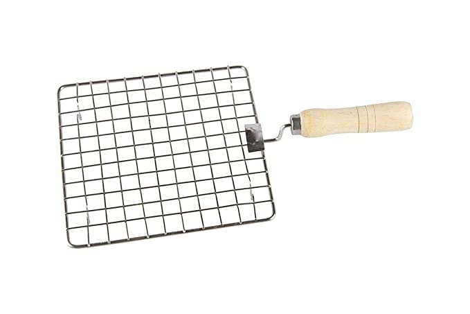 Ultra Zon Stainless Steel Square Papad Jali with Handle, 17cm, (Square Silver)